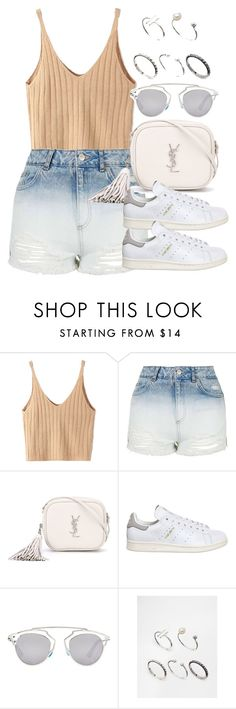 """Style  #10753"" by vany-alvarado ❤ liked on Polyvore featuring WithChic, Topshop, Yves Saint Laurent, adidas, Christian Dior and ASOS"