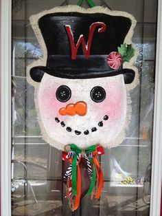 Burlap Snowman Door Hanger by BHoweryCreations on Etsy