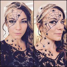 Spider web makeup. Halloween makeup. Easy last minute DIY costume.