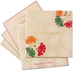 We at www.regalcards.com care for environment. Presenting this elegant invitation card made out of fine quality of textured recycled card stock with hand painted effect floral designs.