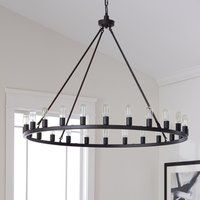 Shop for The Gray Barn Hemsworth Round Chandelier. Get free delivery On EVERYTHING* Overstock - Your Online Ceiling Lighting Store! Get in rewards with Club O! Black Iron Chandelier, Wheel Chandelier, Iron Chandeliers, 5 Light Chandelier, Pendant Lighting, Rustic Chandelier, Circle Chandelier, Edison Chandelier, Dining Room