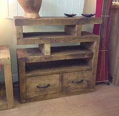 NEW RUSTIC PLANK TV STAND UNIT CABINET CHUNKY FUNKY SOLID WOOD*MADE TO ANY SIZE*