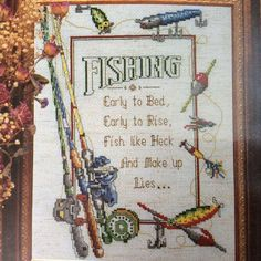 Early To Bed Early To Rise Fishing Cross Stitch Kit Fiddlers Cloth Rod Reel Lure #DesignsfortheNeedle