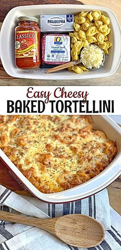 Easy Cheesy Baked Tortellini (With Meat Sauce) - InstrupixYou can find Easy dinner recipes and more on our website.Easy Cheesy Baked Tortellini (With Meat Sauce) - Instrupix Tortellini Bake, Easy Tortellini Recipes, Ravioli Bake, Cheese Ravioli, Easy Pasta Bake, Tortellini Ideas, Baked Cheese Tortellini, Spinach Ravioli, Pasta Cheese