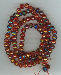 8mm DrawBench Red Crackle Glass Round Beads Long by RockNBeads, $6.00