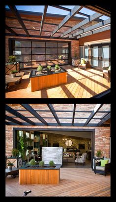 Use a glass garage door to open up your family room to an outdoor entertaining area. Closed the door is a wall of windows. Model shown: Clopay Avante Collection, black frame with frosted glass panels. As seen on Extreme Makeover: Home Edition. www.clopay.com