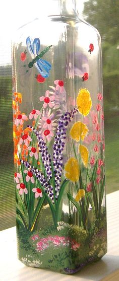Hand Painted Glass Butterfly, Dragonfly, Lady Bug, Wildflower Soap Bottle, Oil Bottle, Vinegar Bottle