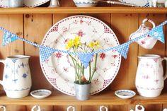 Mini Bunting - Blue Gingham & Blue Retro Floral £5.00