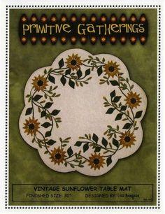 "~ VINTAGE SUNFLOWER TABLE MAT ~ Primitive Gatherings Wool Applique Pattern 30"" #PrimitiveGatherings"