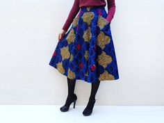 Blue Full Flared African Midi Skirt with Pockets and Elastic Waist