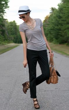 Casual look:  fedora, a relaxed tee, and rolled-up pants  |  Laura Wears