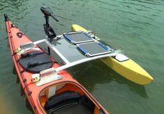 If you're too lazy to paddle your own kayak, the solar-powered SPK-1 outrigger can harness the energy of the sun to get you on your way. Three big solar panels on this kayak-mounted attachment feed power to a silent-running electric trolling motor with 36 pounds of thrust. On the next page, take a look at a detailed diagram of the SPK-1.