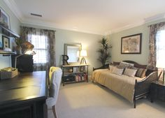 guest room and office. wild grass wall color. vista paint. cane daybed. paisley drapes. espresso desk. linen tufted chair. multifunctional space.