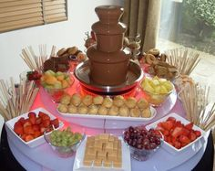 Chocolate Fountain 1. Fresh Fruits  2. Dried Fruits  3. Marshmallows  4. Cake Pieces  5. Cookies  6. Graham Crackers  7. Pretzels  8. Brownie Pieces.  9. Potato Chips  10. Biscotti.   11. Waffles  12. Cinnamon Sticks  13. Popcorn  14. Nuts  15. Lollypops  16. Peanut butter balls  17. Bagel chips  18. Pretzel sticks  19. Peanut brittle  20. Mini muffins