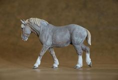 'Achille' Percheron Stallion 1:32 limited edition 30 - painted and made by Harriet Knibbs, Flaxen Liver Chestnut Roan commission *sold*