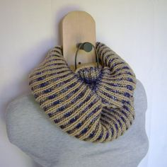 Double Sided Two Toned Infinity Scarf, Knit Cowl Loop Scarf, Knit Cowl, Hand Knitting, Infinity, Beige, Wool, Etsy, Outfits, Fashion