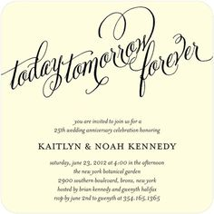 Anniversary Invitations Here and Vow - Front : Black