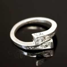 Ethnic Jewelry Ring Sterling Silver Crossed Engraved Nail Tuareg Tribe Design KARUNI
