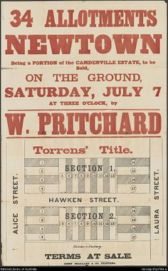 W. Pritchard, 34 allotments, Newtown : being a portion of the Camdenville Estate, to be sold, on the ground, Saturday, July 7 at three o'clock . 1890s. National Library of Australia: http://nla.gov.au/nla.map-lfsp1944