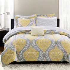 Mainstays Yellow Damask Bedding Bed-In-A-Bag. Jenna's new bedding. It looks great with the gray walls.