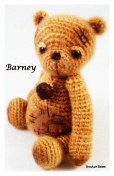 Miniature thread crochet bear, Barney.