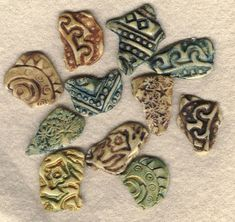 Polymer clay fragments and buttons