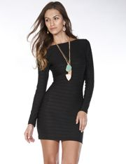 Cable Stripe Long Sleeve Scoop Back Dress @ FlirtCatalog.com