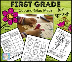 First Grade Math Cut-and-Glue Workbook: Spring Theme. This Common Core based cut-and-glue workbook covers ALL 21 of the standards for first grade mathematics! The graphics and problems all have a spring theme, focusing on flowers, rain, baby animals and more! $