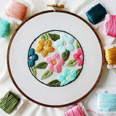Retro Floral Embroidery Hoop Pattern - PDF Download  This is a printer friendly hand embroidery pattern suited for beginner/intermediates.  You will receive in this thirteen page file: ♡ Introduction and thank you letter ♡ List of supplies you will need to get started ♡ Basic stitch guide ♡ Detailed stitch guide for satin & fishbone stitches ♡ How to transfer your pattern ♡ Stitching tips and suggestions ♡ Printable embroidery pattern…