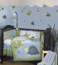 lavender turtle baby nursery crib bedding set frogs snails