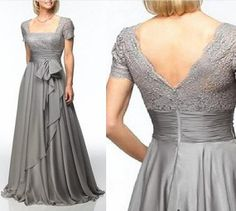 New Gray chiffon and lace mother of the Bride or groom of the dresses, wedding party Prom gown plus size