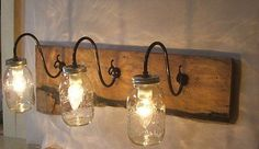 Mason Jar Wall Light Fixture Sconce Vanity Reclaimed Oak Wood Rustic Primitive