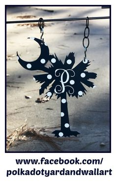 "14"" Custom Metal Palmetto Tree with Crescent Moon Yard Pretty"
