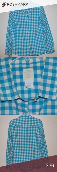 NWOT J. Crew button down (The Perfect Shirt) Beautiful baby blue and white checkered long sleeve by J. Crew! In perfect condition with no stains or snags. 100% cotton so it is very comfy :) feel free to make an offer! 🦋 you can also bundle with any 2 items & receive 25% off ♥️ J. Crew Tops Button Down Shirts