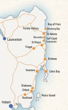 a detailed map of Tasmania including towns roads and landmarks