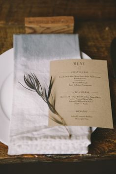 Brown Paper Casual Reception Menu Card