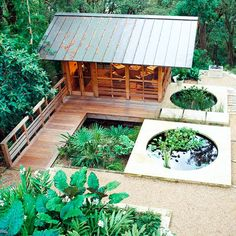 Give your gazebo some Asian flair by using the outdoor space as a tearoom or meditation area. Metal roofing and cedar lumber come together to embrace the homeowner's preference of minimalist design, and koi ponds bring a water element to the deck.