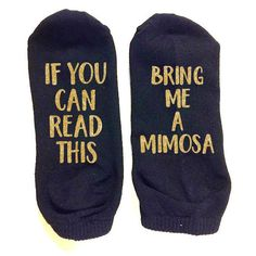 If You Can Read This Bring Me a Mimosa Gold Glitter Black Ankle... ($9.99) ❤ liked on Polyvore featuring intimates, hosiery, socks, casual socks, dark olive, women's clothing, gold socks, ankle socks, glitter hosiery and glitter socks