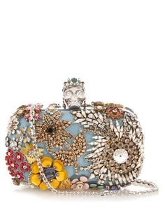 Alexander Mcqueen Classic Skull Silk Floral Clutch Bag, Blue In Duck-egg Blue Alexander Mcqueen Clutch, Beaded Purses, Beaded Bags, Skull Purse, Blue Handbags, Women's Handbags, Brown Purses, Skull Jewelry, Beautiful Bags