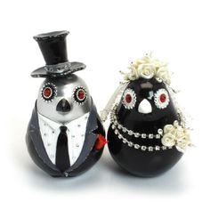 Silver and Black  Love Birds Wedding Cake Topper Ceramic Paint B00015