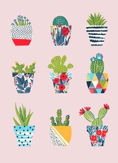 Funny cacti illustration Art Print by Kaktus Illustration, Illustration Art, Illustrations, Summer Wallpaper, Iphone Wallpaper, Whatsapp Wallpaper, Cactus Art, Cute Wallpapers, Collage Art