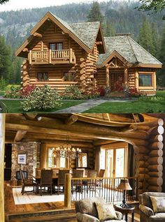 Love this log cabin style. Log Cabin Living, Log Cabin Homes, Log Cabins, Cabins In The Woods, House In The Woods, Rustic Home Design, Tiny House Cabin, Timber House, Cabins And Cottages