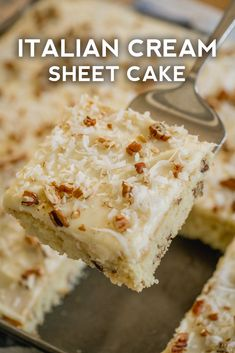 Italian Cream Sheet Cake - the easiest and most delicious way to feed a crowd! Italian Cream Sheet Cake - the easiest and most delicious way to feed a crowd! Desserts For A Crowd, Easy Desserts, Delicious Desserts, Yummy Food, Easy Italian Desserts, Italian Food Recipes, Healthy Food, Healthy Recipes, Sheet Cake Recipes