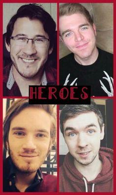 Markiplier, Shane, Pewdiepie, JackSepticEye my 4 top favorite youtubers