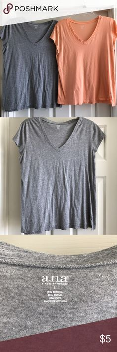 Lot of TWO short sleeve tees size Large EUC a.n.a. Brand short sleeve tees. Gray and a muted neon coral like color. Cleaning out closet :) still have lots of life! Great basic t shirt and closet staple. Same shirt but different color. a.n.a Tops Tees - Short Sleeve