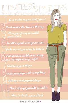 11 Timeless Style Tips Everyone Should Follow. Well, 10. Can't agree with 11, don't own much black stuff. :-)