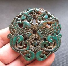 Old-Chinese-green-Jade-hand-carved-phoenix-Amulet-Pendants-L399