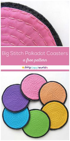 8fc3db9e722c6 Big Stitch Polkadot Coasters - a free pattern from Shiny Happy World  Embroidery Patterns Free