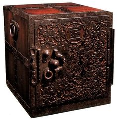 Heavily metalled sea chest from Edo Period (19th Cent.) at the Mingei Museum in tokyo