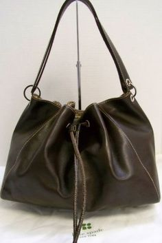 bbd6b9d208d5 Kate-Spade-Italy-Brown-Leather-Double-Strap-Drawstring-Hobo-Bag. Chanda  Johnson-Jesri · Handbags   Accessories